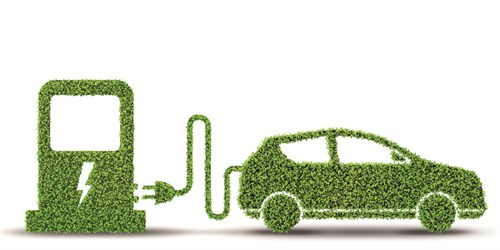 Electric Car Concept In Green Environment